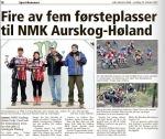 Nr 3 i NorgesCup 5 Lunner, 13. oktober 2012. Indre Akershus Blad s 18.  Jeg ble også nr 3 sammenlagt i cupen.